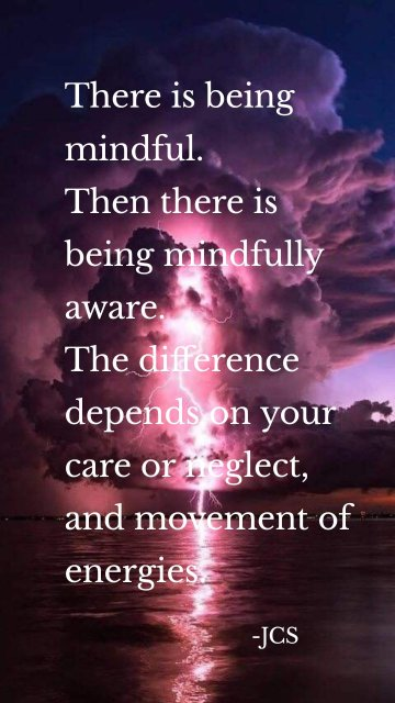 There is being mindful. Then there is being mindfully aware. The difference depends on your care or neglect, and movement of energies. -JCS