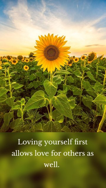 Loving yourself first allows love for others as well.