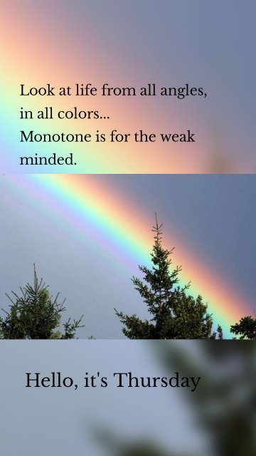 Look at life from all angles, in all colors... Monotone is for the weak minded. Hello, it's Thursday