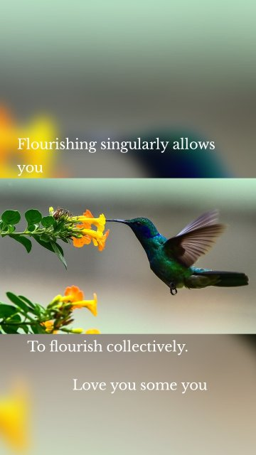 Flourishing singularly allows you To flourish collectively. Love you some you