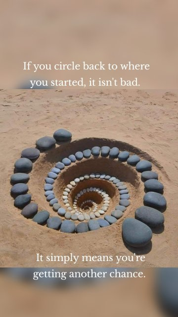 If you circle back to where you started, it isn't bad. It simply means you're getting another chance.