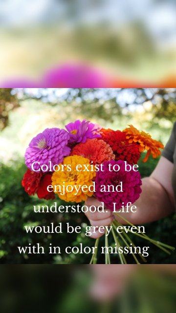 Colors exist to be enjoyed and understood. Life would be grey even with in color missing