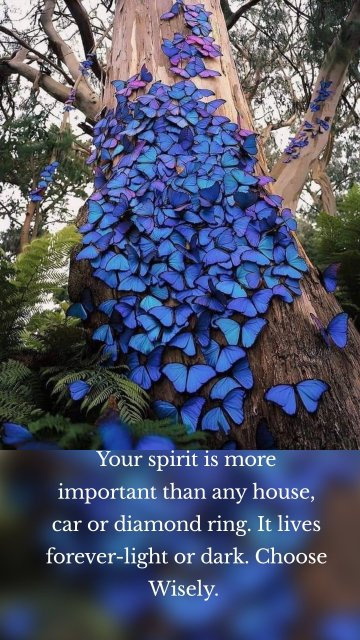 Your spirit is more important than any house, car or diamond ring. It lives forever-light or dark. Choose Wisely.