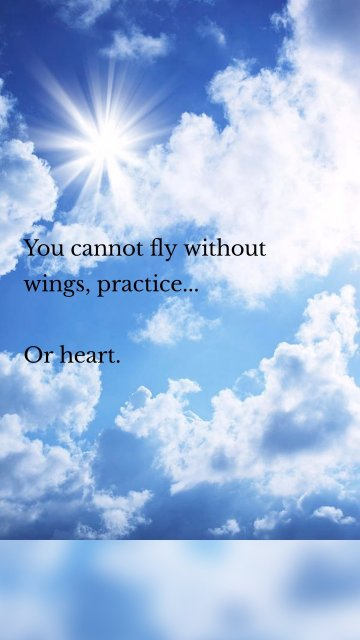 You cannot fly without wings, practice... Or heart.