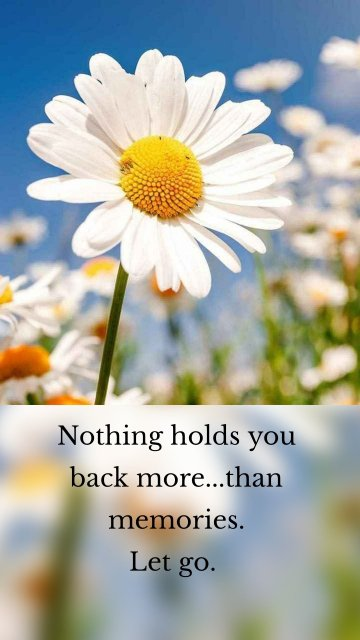 Nothing holds you back more...than memories. Let go.