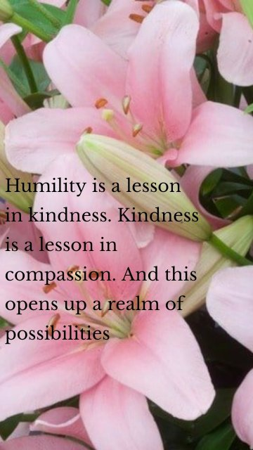 Humility is a lesson in kindness. Kindness is a lesson in compassion. And this opens up a realm of possibilities