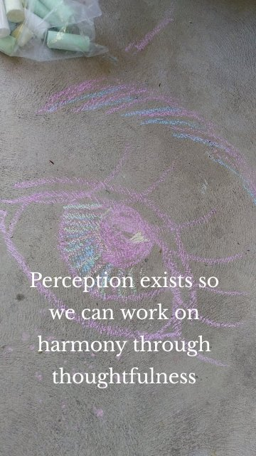 Perception exists so we can work on harmony through thoughtfulness