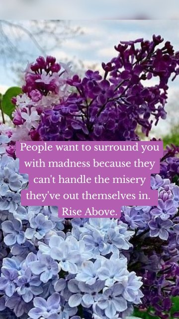 People want to surround you with madness because they can't handle the misery they've out themselves in. Rise Above.