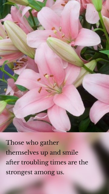 Those who gather themselves up and smile after troubling times are the strongest among us.