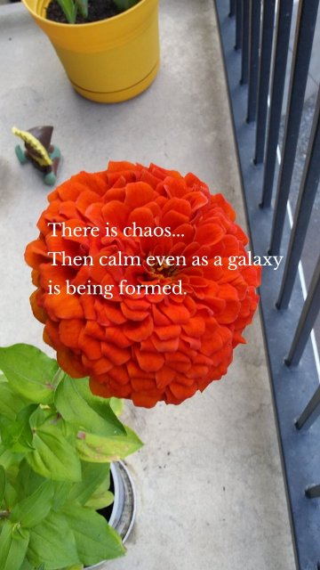 There is chaos... Then calm even as a galaxy is being formed.